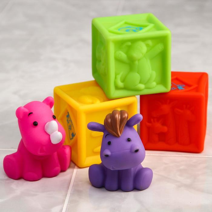 Набор резиновых игрушек для игры в ванной «Кубики и зверята 2», 5 шт. - фото 105535016
