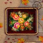Поднос «Цветы», бордовый фон, 36х30 см, ручная роспись
