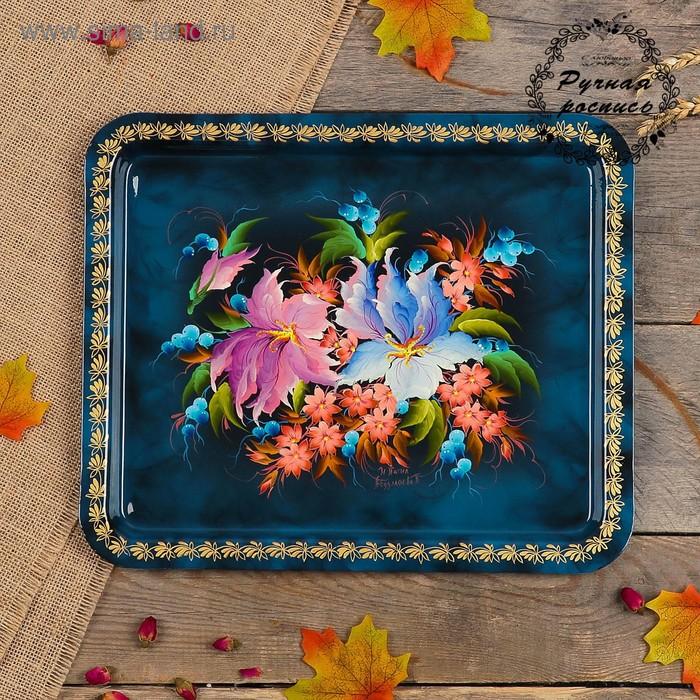 Поднос «Цветы», синий фон, 36х30 см, ручная роспись