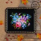 Поднос «Цветы», чёрный фон, 36х30 см, ручная роспись