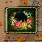 Поднос «Цветы»,  зелёный фон, 36х30 см, ручная роспись