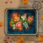 Поднос «Цветы», голубой фон, 36х30 см, ручная роспись