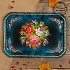 Поднос «Цветы», голубой фон, 45х32 см, ручная роспись
