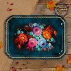 Поднос «Цветы», синий фон, 45х32 см, ручная роспись