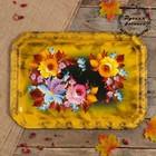 Поднос «Цветы»,  жёлтый фон, 45х32 см, ручная роспись