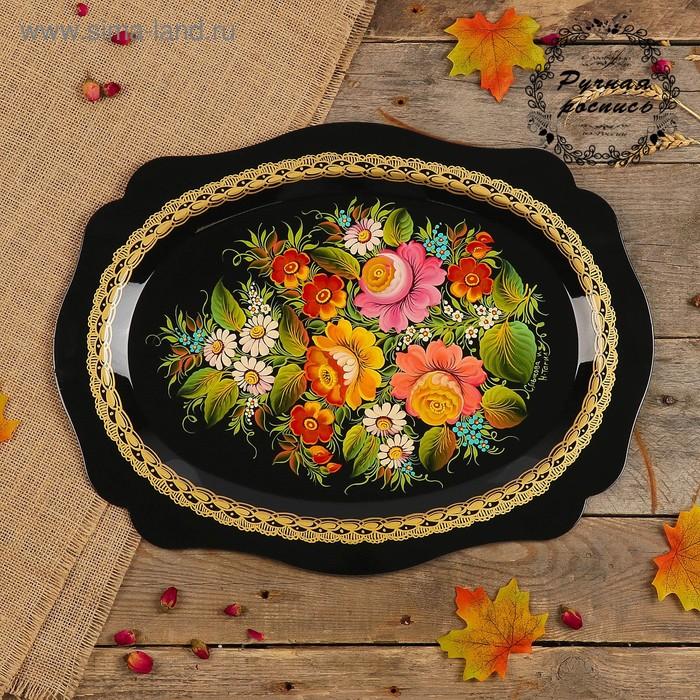 Поднос «Цветы», чёрный фон, 46х35 см, ручная роспись