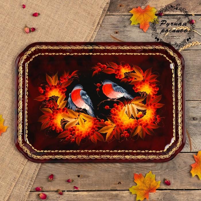 Поднос «Птицы», бордовый фон, 45х32 см, ручная роспись - фото 8884481
