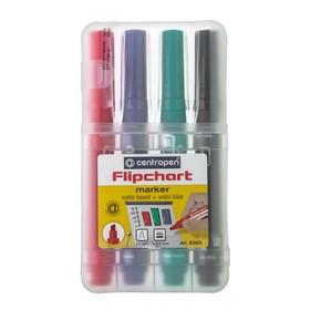 Набор маркеров для флипчарта 4 цвета, Centropen Flipchart 4.6-1.0 мм, в пластиковом боксе