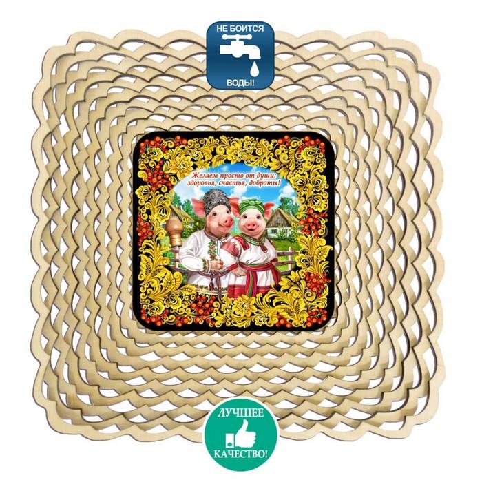 Сухарница «Свинки», хохлома, 17,5×17,5×4 см
