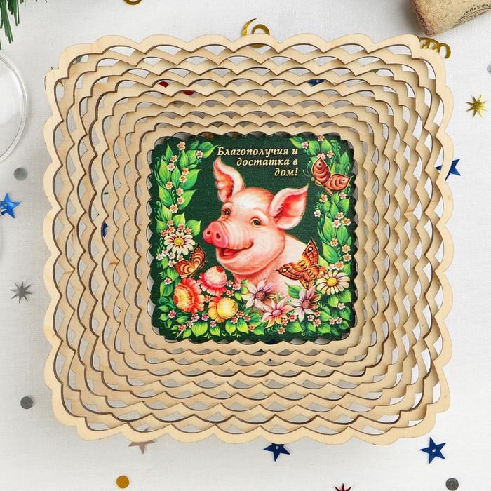 Сухарница «Свинка», благополучия и достатка в дом!, 17,5×17,5×4 см