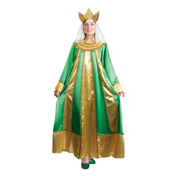 """Карнавальный костюм """"Царевна"""", атлас, платье, корона, р. 46, рост 172 см, цвет зелёный"""