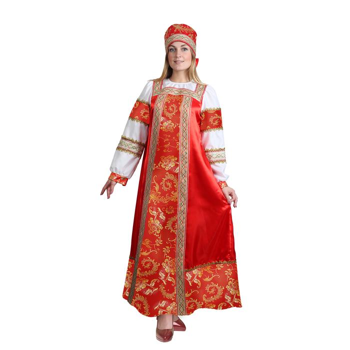 """Русский народный костюм """"Золотые узоры"""", платье, сорока, атлас, р-р 50, рост 172 см - фото 107023852"""