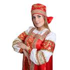 """Русский народный костюм """"Золотые узоры"""", платье, сорока, атлас, р-р 50, рост 172 см - фото 107023853"""