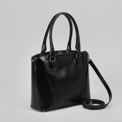 Сумка женская, отдел с перегородкой на молнии, наружный карман, сафьян шик/гладкий шик, цвет коричневый