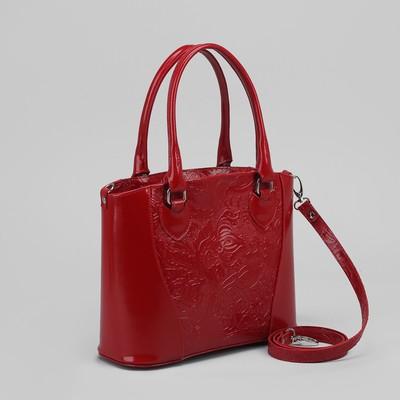 Сумка женская, отдел с перегородкой на молнии, наружный карман, пионы шик/гладкий шик, цвет красный
