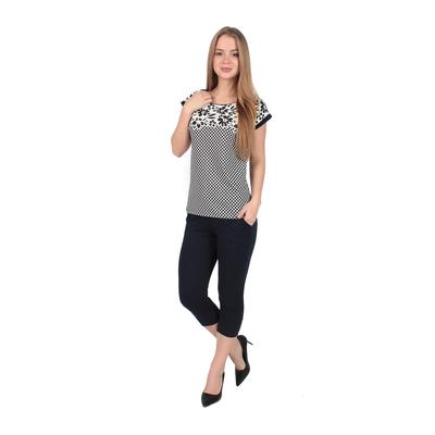 Комплект женский (футболка, бриджи), цвет тёмно-синий, размер 58