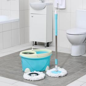 Набор для уборки: ведро с металлической центрифугой 16 л, швабра, запасная насадка, цвет МИКС