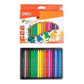 Мелки восковые 18 цветов Deli Color Emotion, трёхгранные