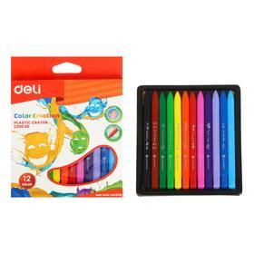 Мелки восковые 12 цветов Deli Color Emotion, трёхгранные