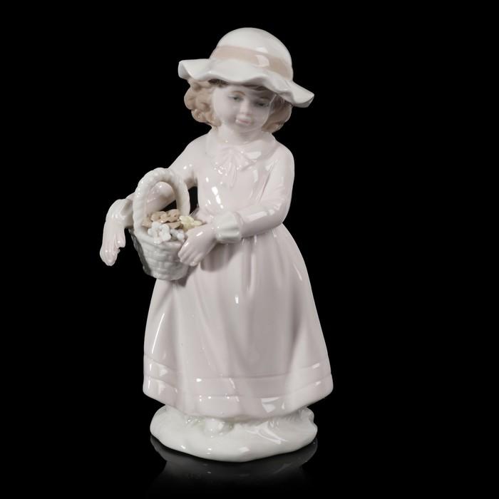 """Сувенир """"Девочка в шляпке с корзинкой с цветами"""" 19,5х9х9 см"""
