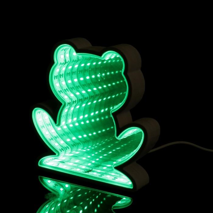 """Ночник """"Лягуха с эффектом бесконечности"""" 25хLED (зеленый свет) от USB белый 2,7х14,3х14,3см"""