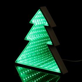"""Ночник """"Елочка с эффектом бесконечности"""" 25хLED (зеленый свет) от USB белый 2,7х16,8х17,3см"""