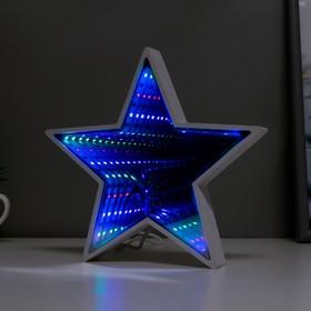 "Ночник ""Звезда с эффектом бесконечности"" 25хLED от USB белый 2,7х18х17 см"
