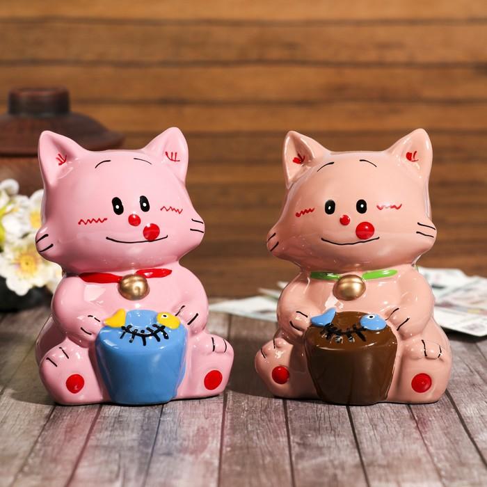 "Копилка керамика ""Котёнок со съеденной рыбкой"" 8,5х8х12 см МИКС"