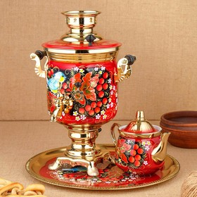 Набор «Рябина», 3 предмета, самовар 3 л, заварочный чайник 0,7 л, поднос
