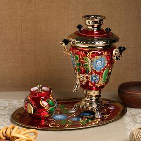 Набор «Васильки», рюмка, 3 предмета, самовар 3 л, заварочный чайник 0,7 л, поднос