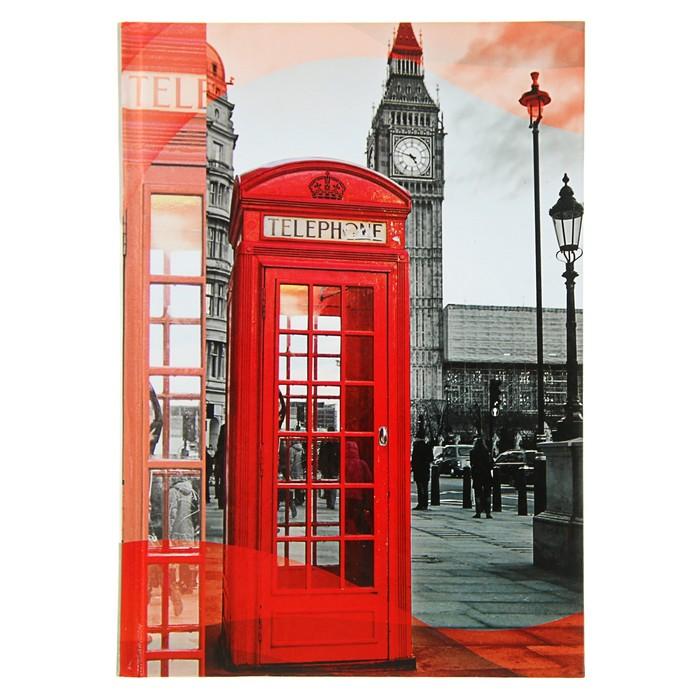 """Колледж-тетрадь А5, 160 листов клетка Calligrata """"Лондон"""", твёрдая обложка"""