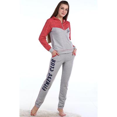 Комплект женский (толстовка, брюки), цвет красный, размер 60