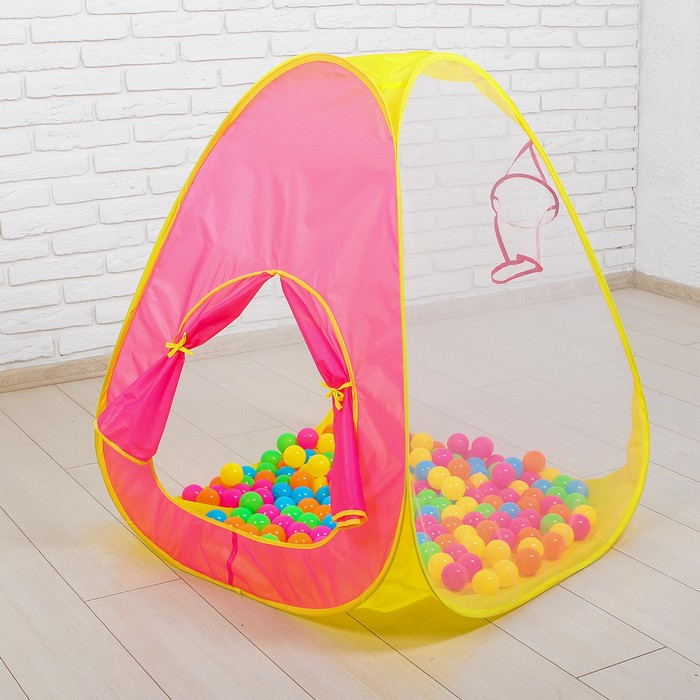 Палатка игровая с баскетбольной корзиной, в комплекте пластмасс.шарики 200 шт., коробка, 39х55х16см