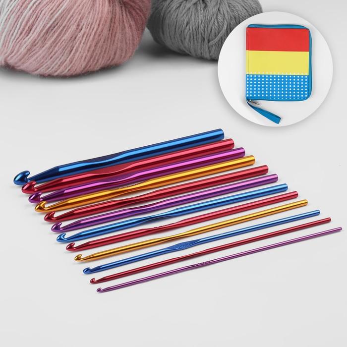 Набор крючков для вязания, d = 2-8 мм, 14,5 см, 12 шт, цвет МИКС