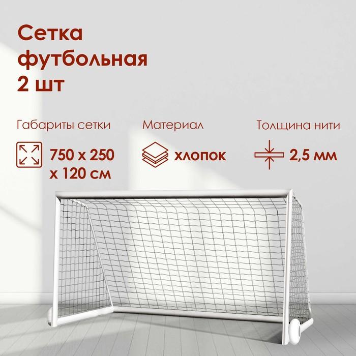Сетка футбольная, белая нить 2,5 мм, 7,5 м х 2,5 м, в комплекте 2 сетки