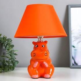 """Настольная лампа """"Бегемот"""" 1хE14 40Вт оранжевый 20х20х28см."""