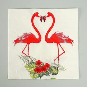 Салфетки бумажные «Парочка фламинго», набор 20 шт., 33х33 см