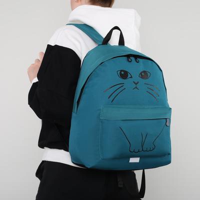 """Рюкзак молодёжный """"Кот"""", отдел на молнии, наружный карман, цвет бирюзовый"""