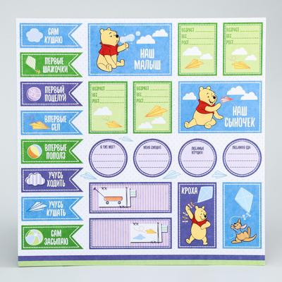 "Paper for scrapbooking 30,5*30,5 ""Our son"", Winnie the Pooh and his friends"