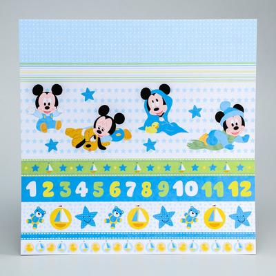 "Paper for scrapbooking 30,5*30,5 ""Our baby"", Mickey mouse and friends"