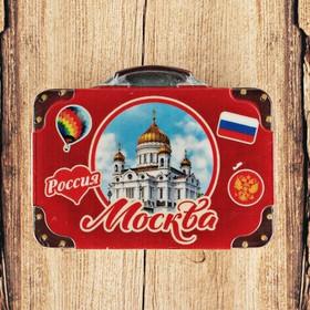 Магнит с чемоданом 'Москва. Храм Христа Спасителя' 7,5x5,6 Ош