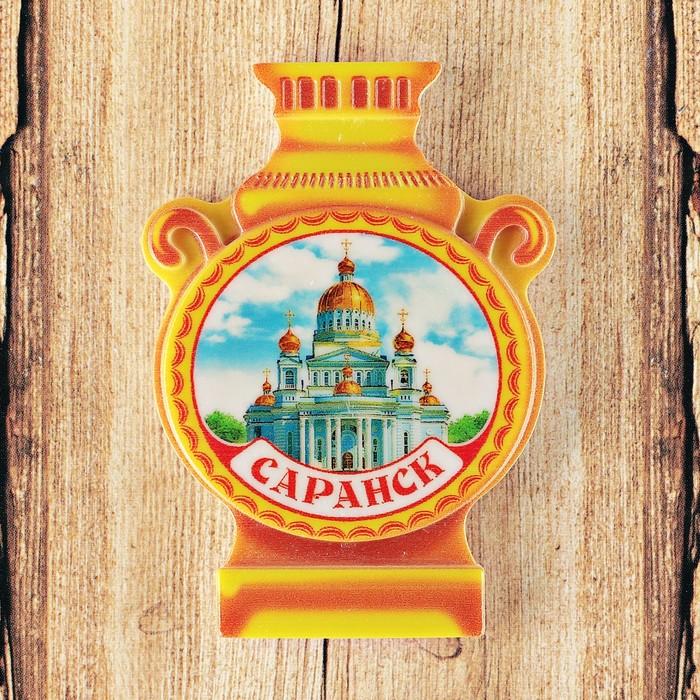 Магнит в форме самовара «Саранск. Собор Святого Феодора Ушакова»