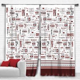 "Set of curtains ""Ethel"" New Year 145*260 cm-2 PCs, 100% p/e, 140 g/m2"
