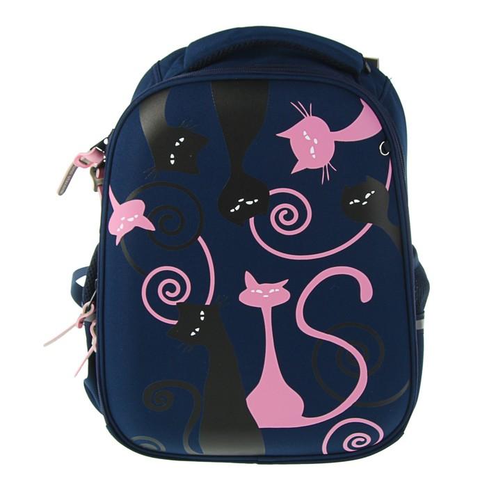 Рюкзак каркасный Bruno Visconti 38 х 30 х 20 см «Кошки. Романтика», синий