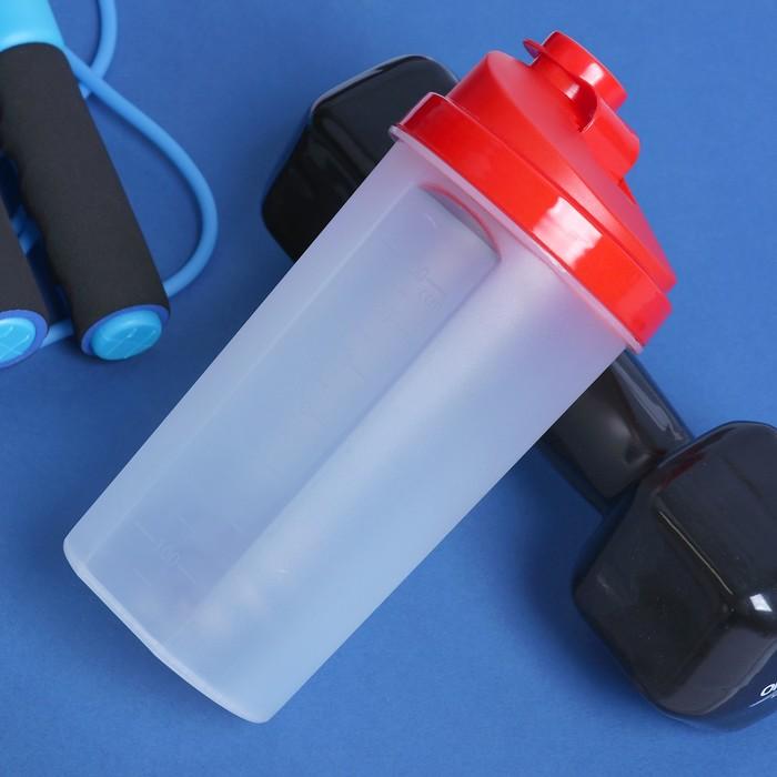 Шейкер 700 мл, с шариком, прозрачный, красный, 10х22 см