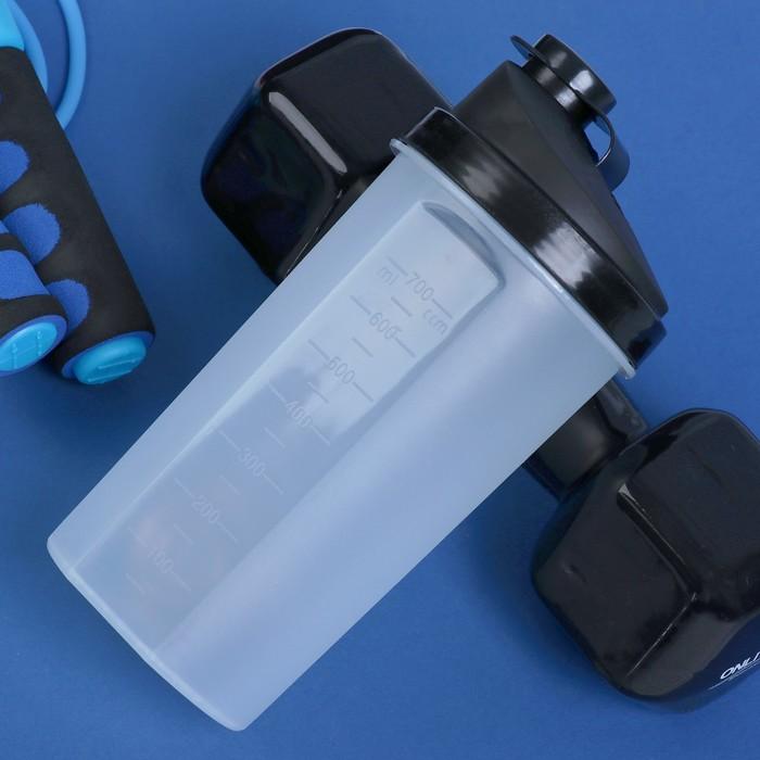 Шейкер 700 мл, с шариком, прозрачный, чёрный, 10х22 см