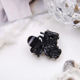 Краб для волос 'Чёрный ажур' 2 см бабочка на цветке Ош