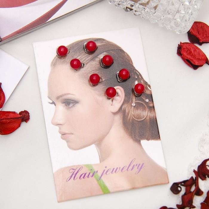 """Зажим для волос """"Жемчуг"""" (набор 8 шт) красный - фото 419622478"""