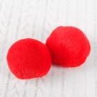 Помпон из искусственного меха, размер 1 шт 6 см, набор 2 шт, цвет красный
