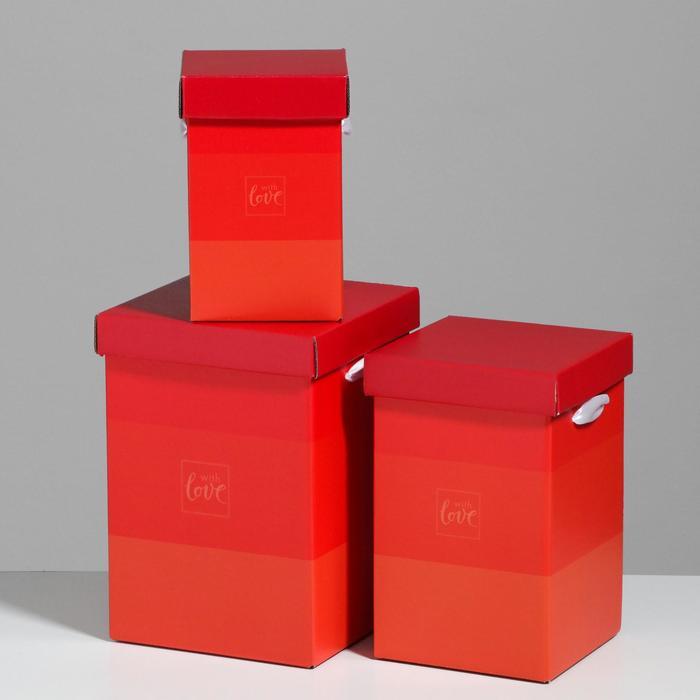 Набор коробок 3 в 1 «С любовью», 10 × 18, 14 × 23, 17 × 25 см